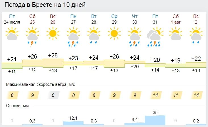 В субботу дождь, в воскресенье +30°С. Все о погоде в Бресте в выходные