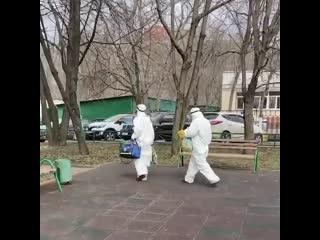 Люди в белом на улице Менжинского.