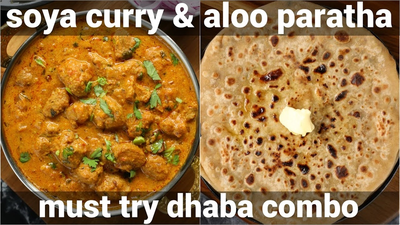 Paratha soya chunks sabji combo meal aloo paratha meal maker curry for lunch dinner