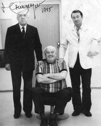 Одна из последних фотографий знаменитой троицы: Юрий Никулин, Георгий Вицин и Евгений Моргунов, 1995 год