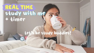 REAL TIME study with me (no music): 2 hour pomodoro session with breaks (background noise)