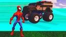 Мультики про машинки для детей Человек-паук Видео про супергероев Полицеская машина Монстр Трак