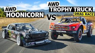 AWD Trophy Truck Pulls a Wheelie Vs Ken Block's 1,400hp AWD Ford Mustang // Hoonicorn Vs the World (2020)