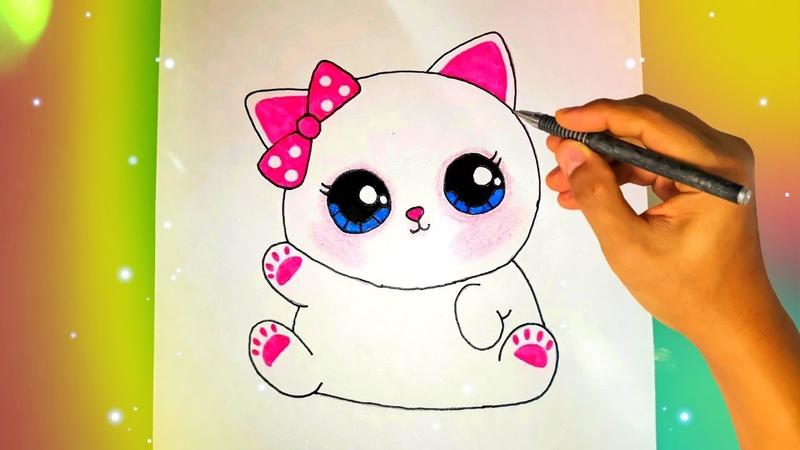 Как нарисовать милую КОШКУ Лёгкие рисунки для срисовки №435