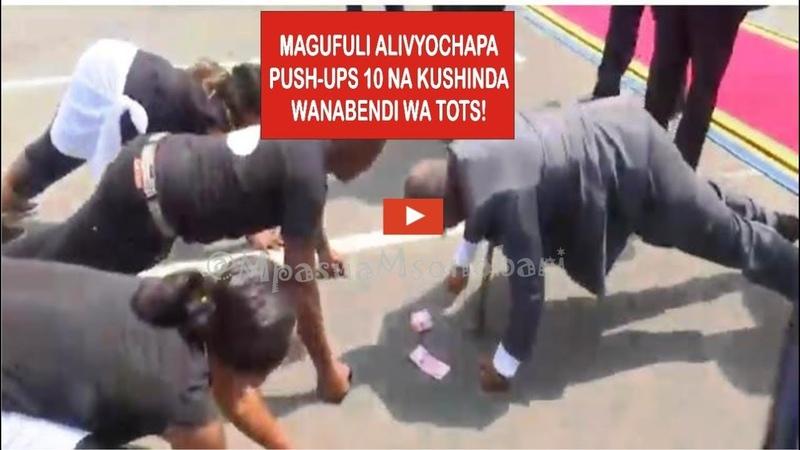 Tazama hapa Rais Magufuli alivyopiga push ups na kumshinda mwanabendi wa TOT Uwanja wa Ndege Dar
