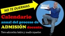 CALENDARIO ANUAL PROCESO DE ADMISIÓN DOCENTE EDUCACIÓN BÁSICA Y MEDIA SUPERIOR