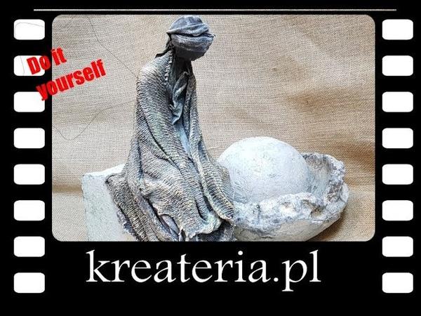 Powertex postać siedząca na kamieniu KreaCraftShow039 kreateria.pl