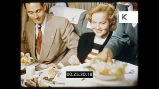 1940s USA, Air Travel, Inside the Cabin, Rare 1948 Colour Footage