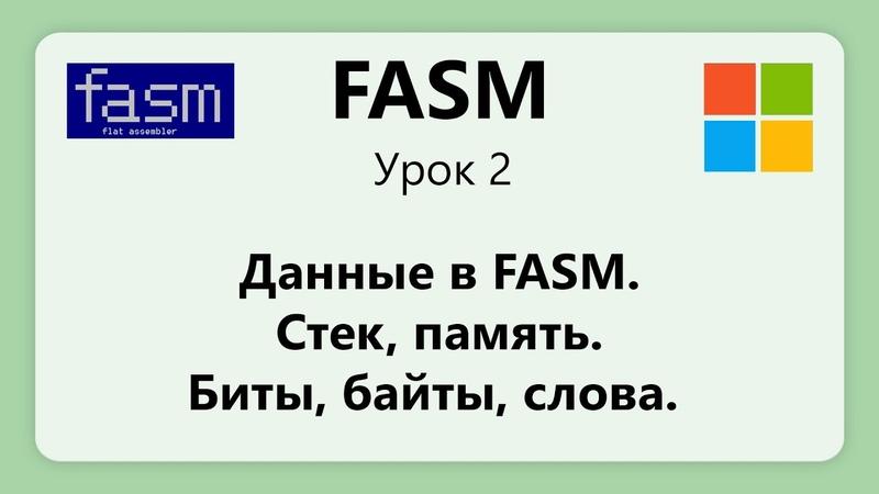 FASM. Данные в FASM. Стек, память, регистры. Биты, байты слова. Урок 2