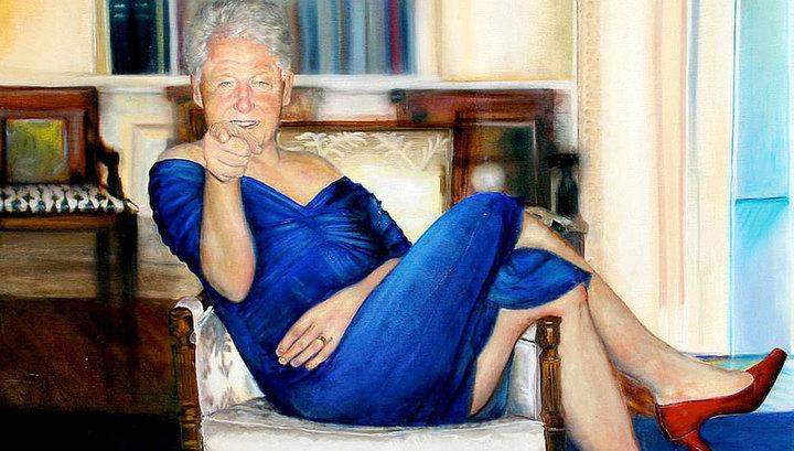 Вести.Ru: В особняке педофила Эпштейна найден портрет Клинтона в платье и туфлях на каблуке