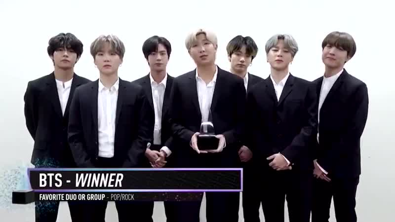 191125 BTS for winning Favorite DuoGroup at 2019 AMAs