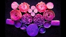 ASMR Soap. Starch boxes. Crispy soapy flowers. Pink and purple.