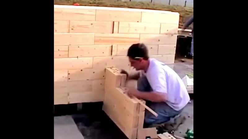 Строительство дома из дерeвянного кирпичa