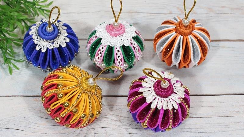 Diy christmas ornaments with glitter balls | DBB