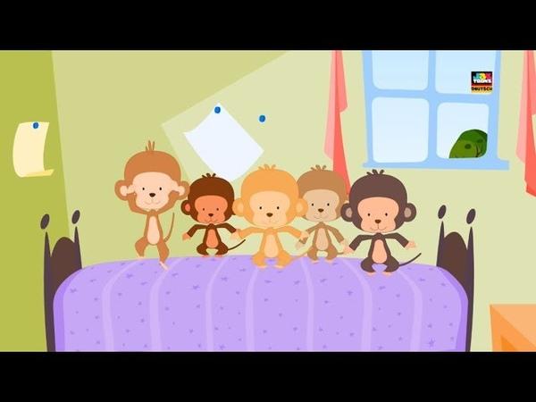 Fünf kleine Affen Springen Kinderreim Deutscher Kinderlied Preschool Song Five Little Monkeys