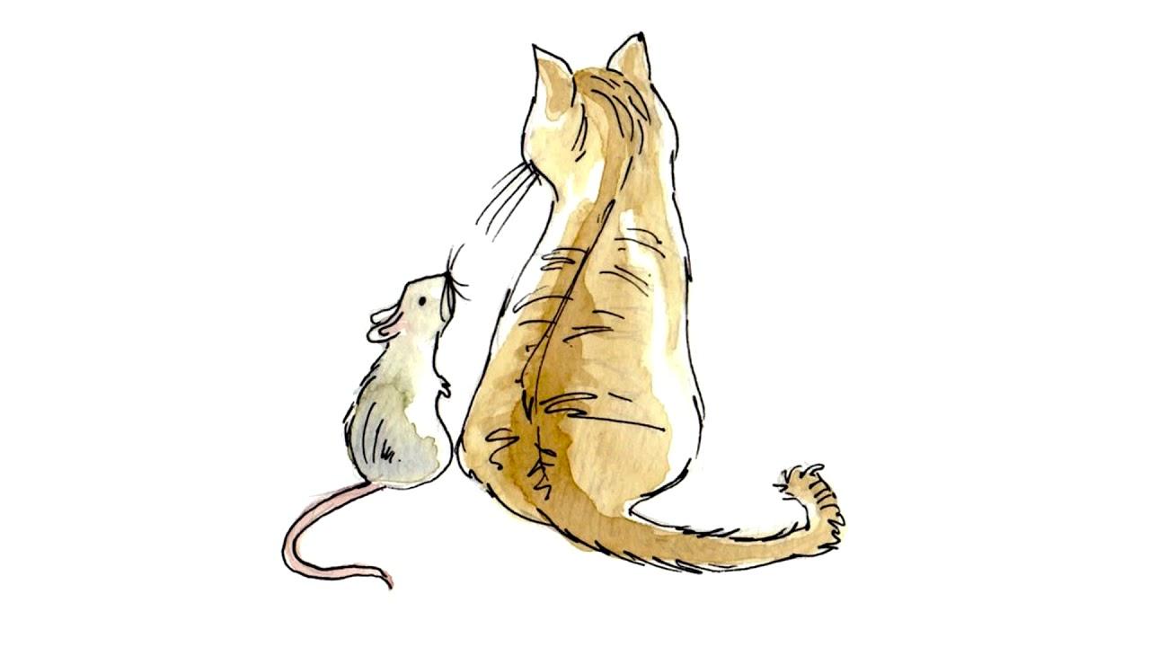 Открытки кошка и крыса