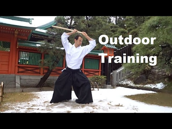 Mid winter Weapon Training at Hachiman Shrine Aikido