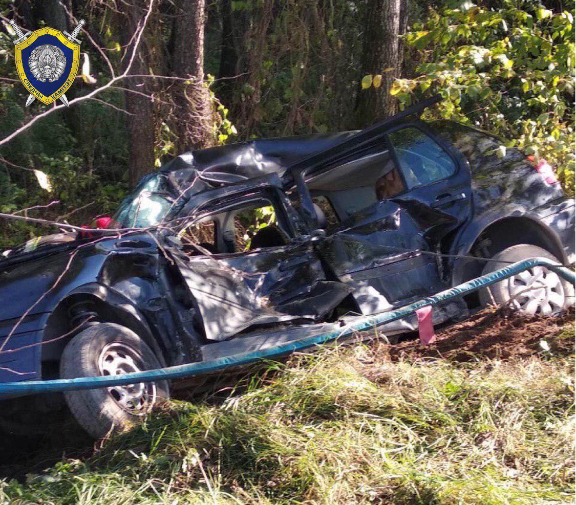 В Кобринском районе погибли два человека. VW Golf съехал в кювет и опрокинулся