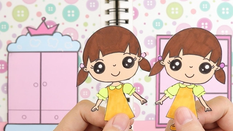 DIY Paper doll quiet book papercrafts Dress up Bunkbed bedroom drawing and playing for kids