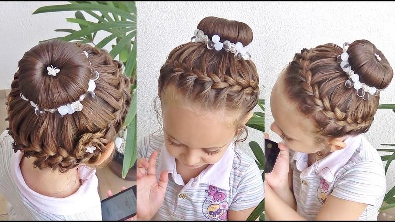 Penteado Infantil com arco trançado coque e flor de cabelo