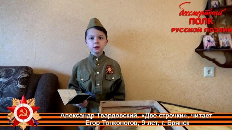 Александр Твардовский Две строчки 1943 читает Егор Тонконогов 9 лет г Брянск
