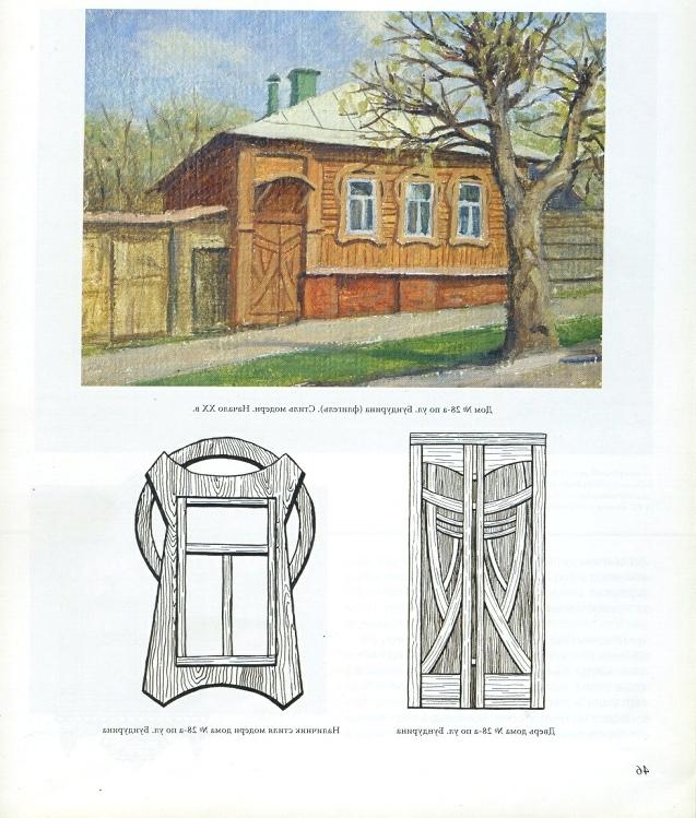 Образец деревянного наличника на ул. Бундурина (из книги Станислава Ошевского «Тула деревянная»)