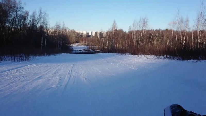 Москва лыжная трасса Альфа Битца на санях спуск