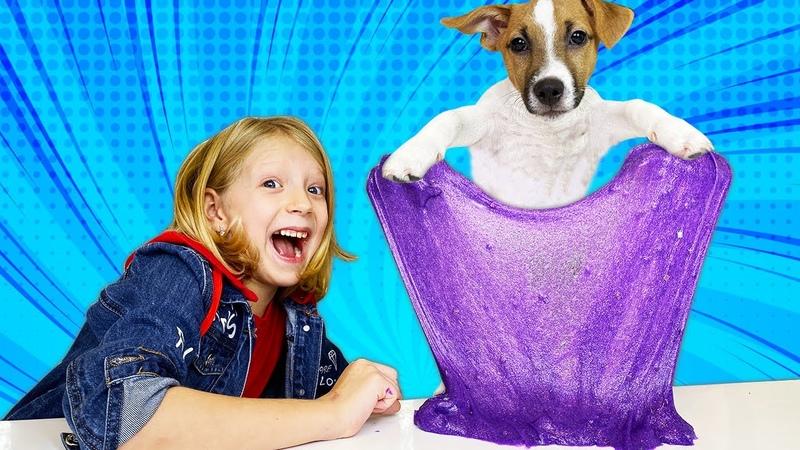Собачка ЛАКИ УПРАВЛЯЕТ МОИМ СЛАЙМОМ! Какой ПОЛУЧИТСЯ СЛАЙМ у СОБАКИ