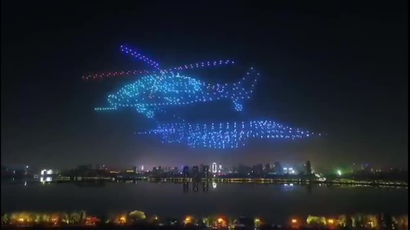 Шоу дронов с LED подсветкой Nanchang.КНР 2019