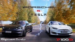 Porsche Taycan Turbo vs Tesla Model S P100D   DRAG RACE