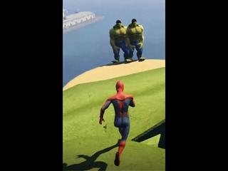 GTA 5 Water Ragdolls Spiderman VS Hulk VS Shrek 😃