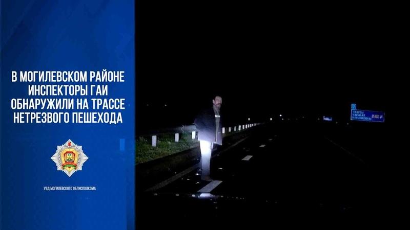 Инспекторы ГАИ обнаружили на трассе нетрезвого пешехода