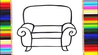 Как нарисовать мебель / мультик раскраска кресло для детей / учим цвета