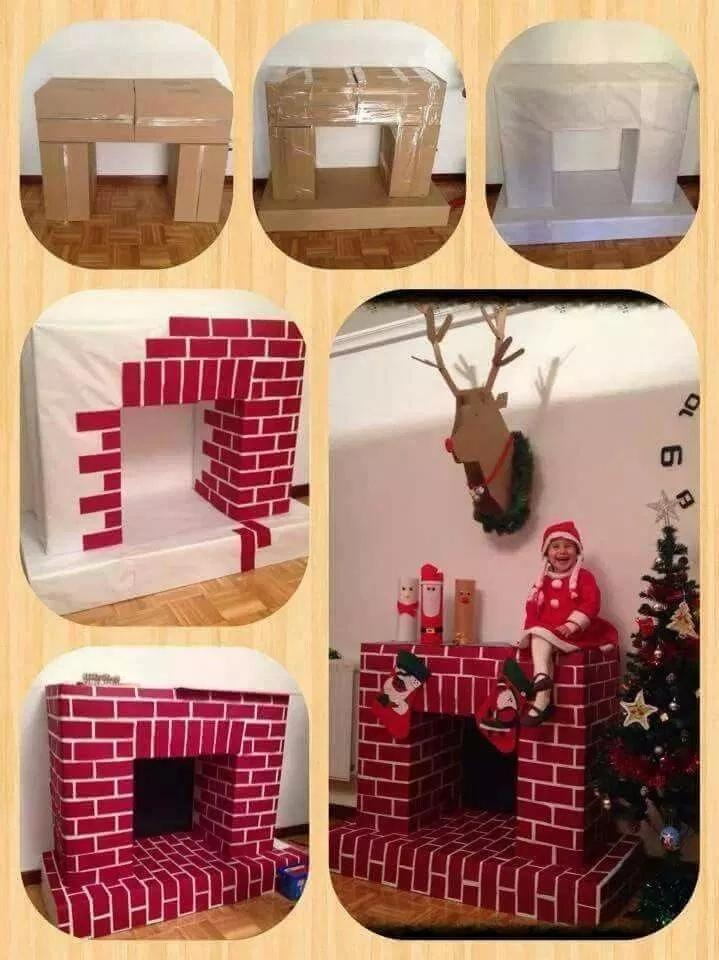 Как сделать новогодний камин из коробок и картона, изображение №3