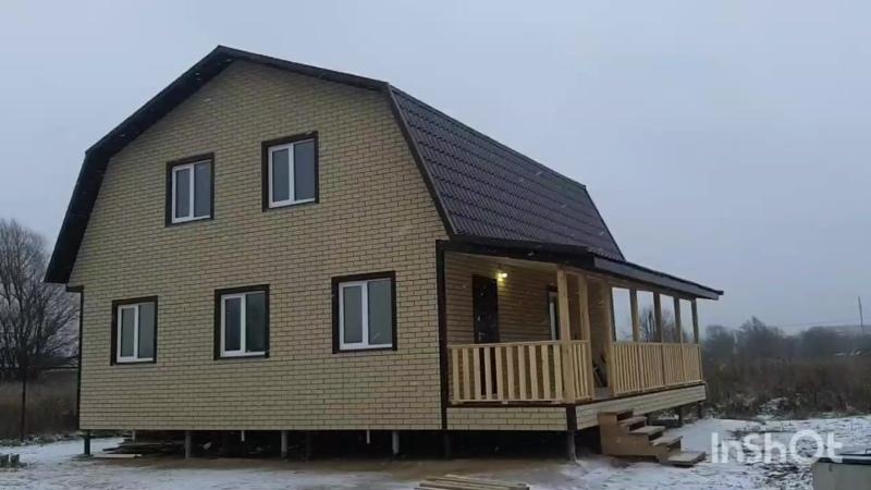 каркасный дом 8х9м с террасой