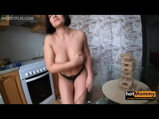 [60fps] Hot Mommy - Playing Strip Jenga With Stepmom During Lockdown