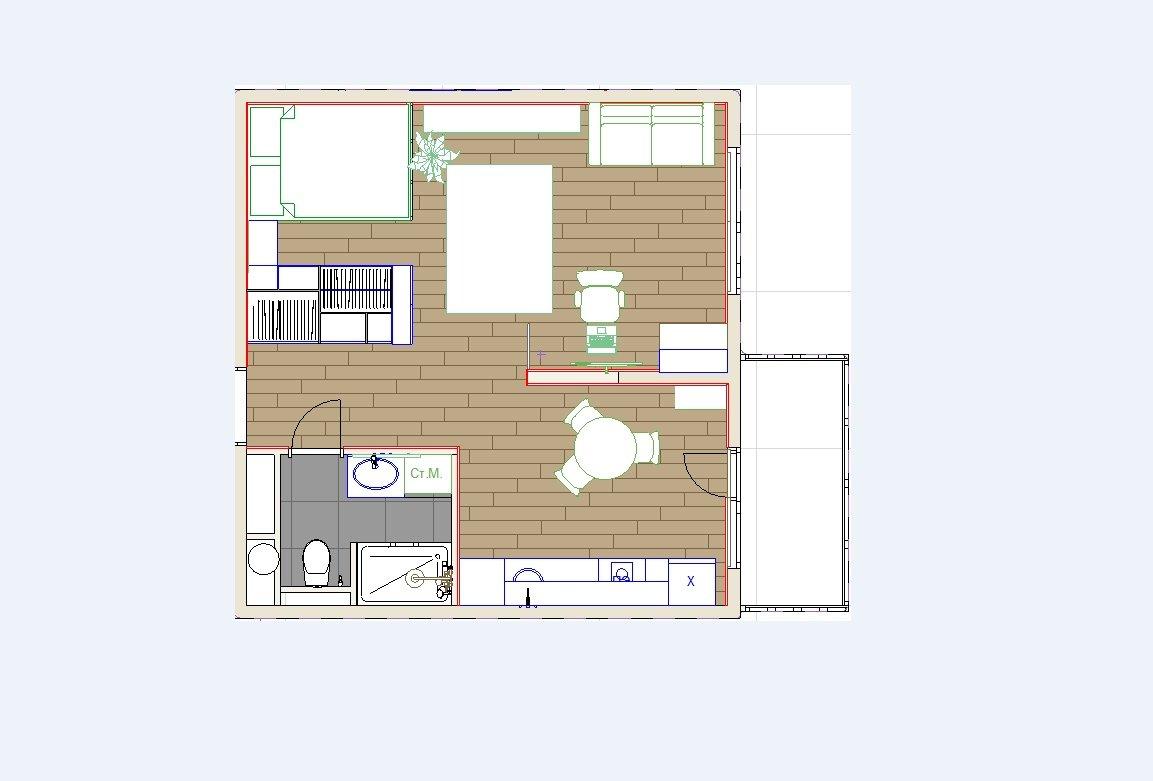 Проект для 38 кв м