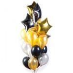 Облако серебряных золотых и черных шариков со звездами