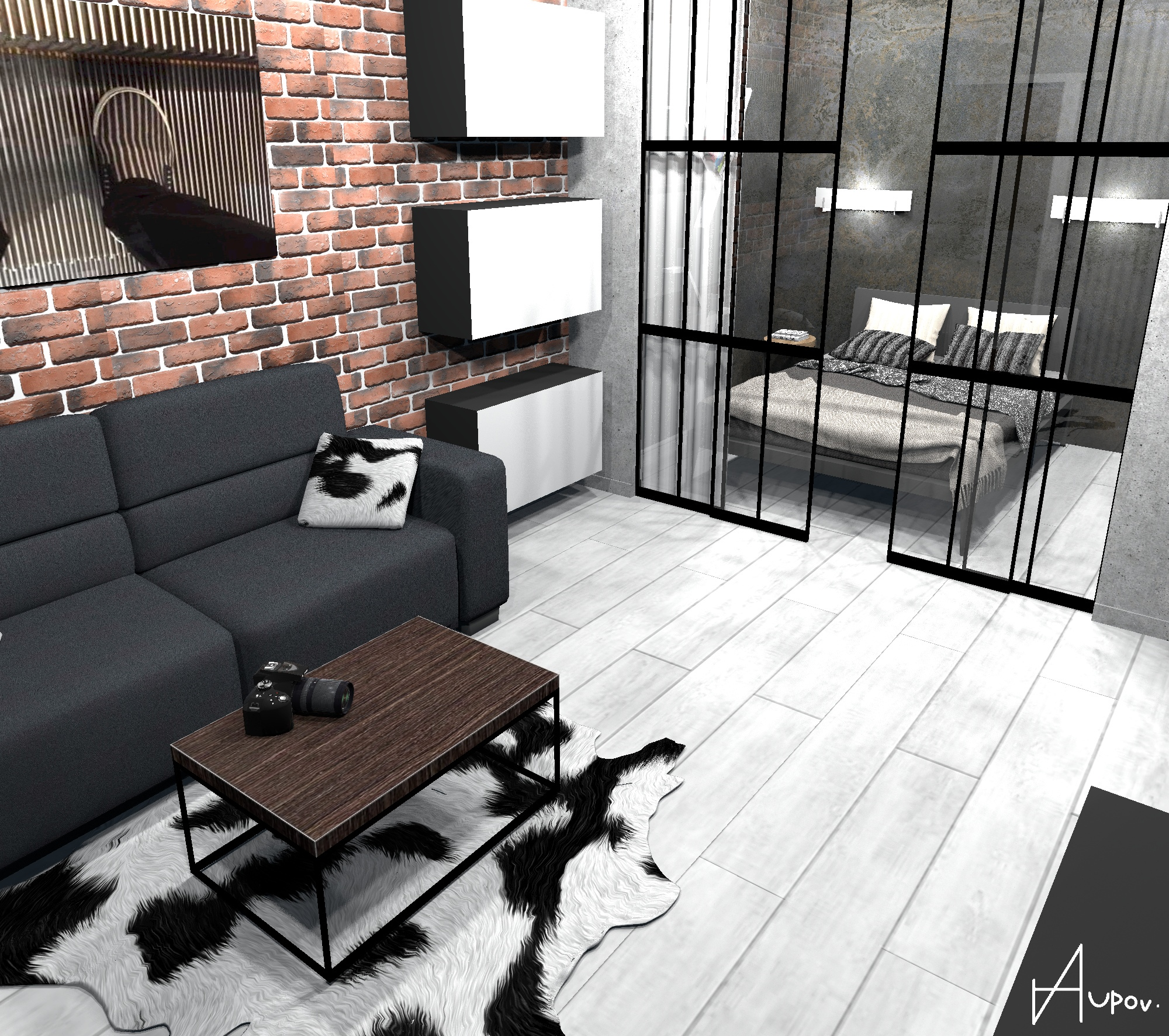 Однокомнатная квартира 40 кв/м в стиле лофт с совмещенной гостиной-спальней.