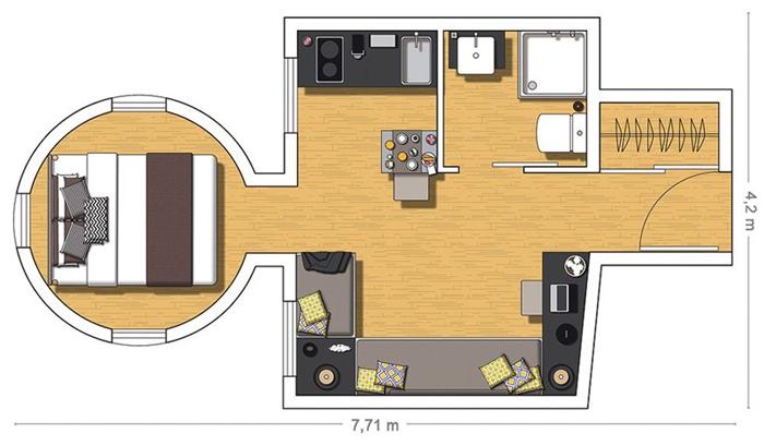 Капитальный ремонт нестандартной квартиры 20 м в Барселоне, Испания.