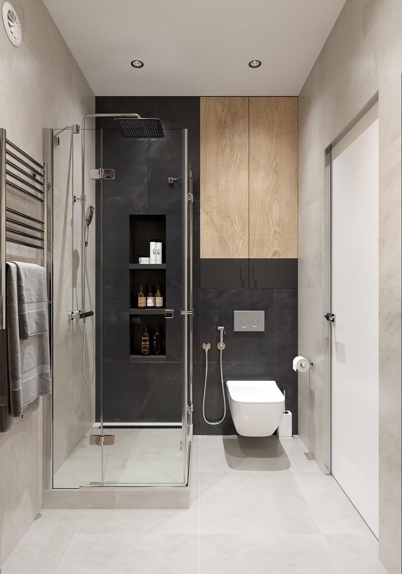 Проект небольшой квартиры-студии прямоугольной планировки, площадь не указана, в районе 26-28 м.