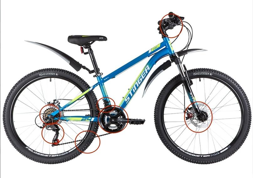 Красными кружками мы пометили основное оборудование велосипеда. Чем больше оборудования от фирмы «Shimano», тем лучше работает велосипед.