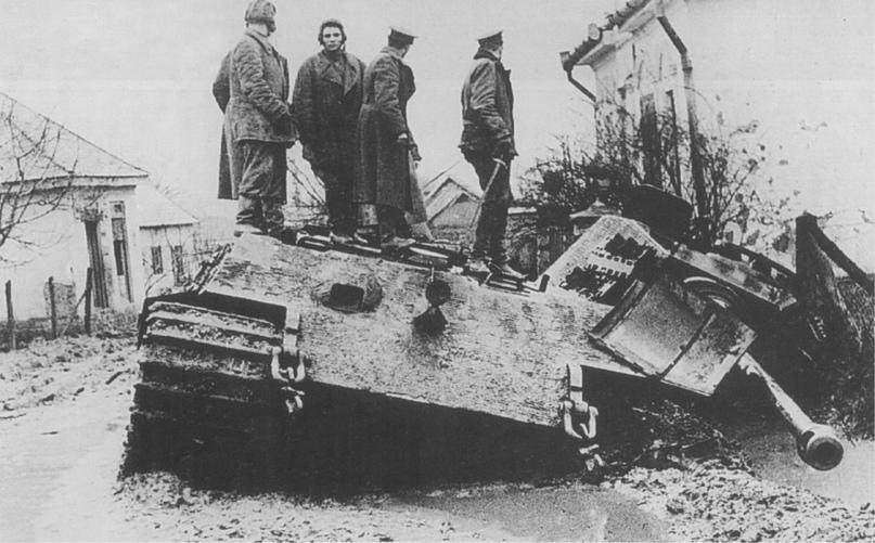 Пейзаж катастрофы. Германская бронетехника на дорогах Венгрии.