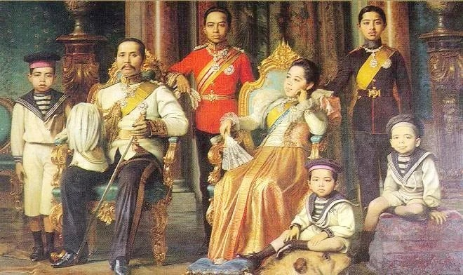 Рама V с Саовабха Пхонгшри и детьми от нее. Худ. Ж. Джелли, 1898 г.