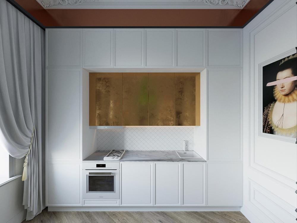 Проект квартиры-студии квадратной планировки с элементами классики.