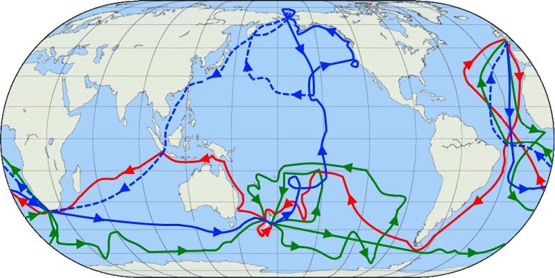 Три кругосветных экспедиции Кука. Красным обозначена первая, зеленым — вторая, синим — третья.