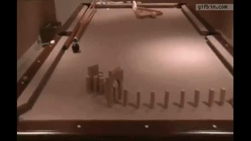 Rube Goldberg pool trick shot