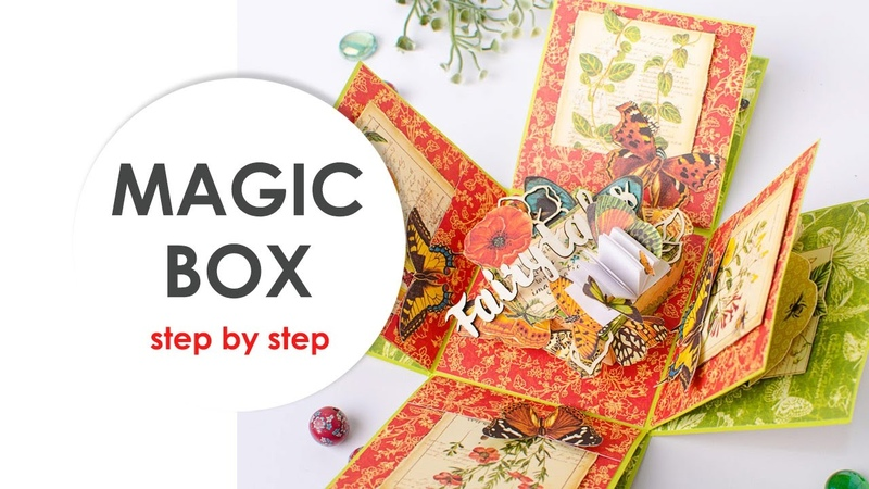 ★Explosion box★Magic box★Scrapbooking Botanique Graphic 45 Step by step Scraps Of Darkness