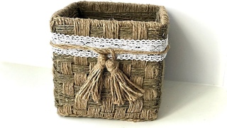 DIY Wicker basket with Jute Rope and Cardboard  | Jute Rope Basket | Jute weave