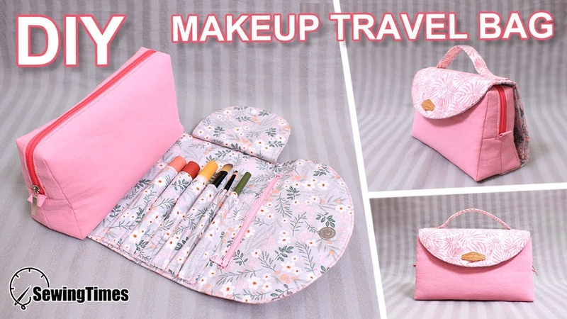 DIY MAKEUP TRAVEL BAG 파우치만들기   Brush Roll Case   All In One Cosmetic Bag [sewingtimes]